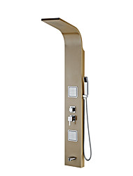 Contemporary Art Deco/Retro Modern Showerpanel Rain Shower Handshower Included Pullout Spray with  Ceramic Valve Single Handle Four Holes