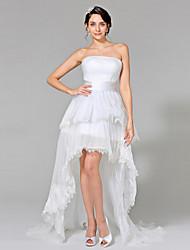 LAN TING BRIDE Robe de Soirée Robe de mariée - Chic & Moderne Petites Robes Blanches Asymétrique Sans Bretelles Dentelle Organza avec