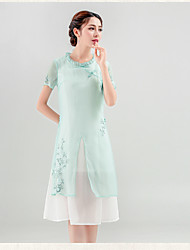 Sign literary original design women's Chinese style short-sleeved dress embroidered retro summer new