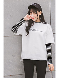 2017 spring new sweater fake two female striped T-shirt embroidered letters