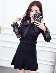 signe 2017 nouveau printemps arc de dentelle blouse fishtail tailleur jupe nett +