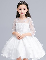 Ball Gown Short / Mini Flower Girl Dress - Organza Jewel with Appliques Sash / Ribbon