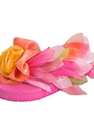 Для женщин Тапочки и Шлепанцы Полиуретан Лето Повседневные Цветы из сатина Ленты На плоской подошве Белый Лиловый Пурпурный ЗеленыйНа