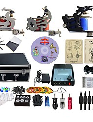 Complete Tattoo Kit 3 G3A6A11A4 Machines Liner & Shader Dual LED Power Supply