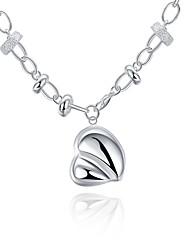 Women's Pendant Necklaces Chain Necklaces Jewelry Copper Silver Plated HeartUnique Design Dangling Style Pendant Love Friendship Hip-Hop