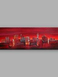 IARTS Hand-Painted Red Landscape My City B One Panel Canvas Oil Painting For Home Decoration