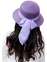 Women's Fashion Brim Floppy Straw Hat Sun Hat Beach Cap Bowknot Riband Casual/Party Holiday Outdoors Summer