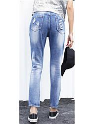 assinar o jeans primavera e Coreia do verão transversal original do harem pants lantejoulas bf buracos calças femininas
