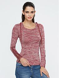Damen Solide Einfach Lässig/Alltäglich T-shirt,Mit Kapuze Herbst / Winter Langarm Rot / Grau Baumwolle / Kunstseide Dünn