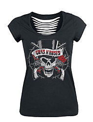 Damen Solide Druck Street Schick Lässig/Alltäglich T-shirt,Rundhalsausschnitt Sommer Kurzarm Polyester Mittel