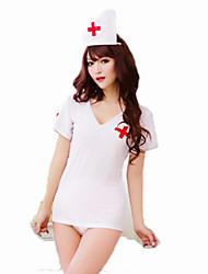 Costumes de Cosplay Infirmière Fête / Célébration Déguisement d'Halloween Blanc Couleur Pleine Carnaval Féminin Nylon