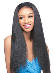 Elegant Yaki Straight Human Hair Wigs Long For Black Woman Full Lace Virgin Hair High Density Wig No Shedding Medium Brown Lace Cap