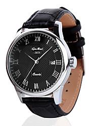 Men's Dress Watch Swiss Designer Quartz Genuine Leather Band Black Brown