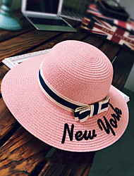 Women Sweet Straw Sun Hat Beach Wide-brimmed Hat Letters Embroidery Bowknot Casual Summer
