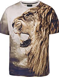 Men's Plus Size Casual/Daily Club Boho Street chic Punk & Gothic Spring Summer T-shirt,Print Round Neck Short Sleeve Multi-color Polyester