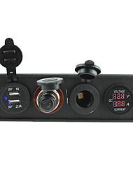 12V/24V 3.1A USB portcigarette lighter socketPower socket and current voltmeter with housing holder panel for car boat truck RV