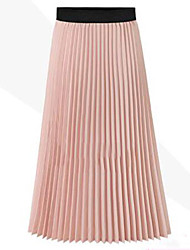 A Line Solid Chiffon Skirts,Going out High Rise Midi Elasticity Polyester Micro-elastic Summer