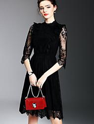 2017 весной новые женщины&# 39, S моды темперамент элегантный полые рукава кружева платье тонкий
