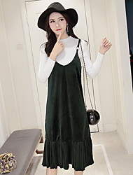 Sign ladies autumn and winter long-sleeved knit shirt Korean loose piece Pleated Dress Fashion Set