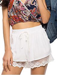 Femme Mince Short Pantalon,Sexy simple Décontracté / Quotidien Soirée Couleur Pleine Dentelle Maille Taille Haute Cordon Polyester
