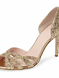 Sandals Summer Gladiator Leatherette Office & Career Party & Evening Dress Casual Stiletto Heel Sequin Hollow-out Silver Gold