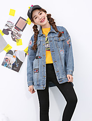 Sign Institute BF wind loose denim jacket female long section of the Korean version of the influx of large size clothing affixed cloth badge