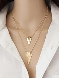 Feminino colares em camadas Triangular Liga Dupla camada Moda Estilo simples Multi Camadas Europeu Dourado Jóias Para Casual 1peça