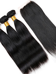 Vinsteen 8A Cuticle Brazilian Hair Bundles Straight Hair Weaves 3 Bundles With Lace Closure 8-30inch Natural Color Double Weft Human Hair Extensions