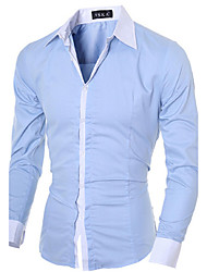 Men's Work Simple All Seasons Shirt,Solid Classic Collar Long Sleeves Cotton Polyester