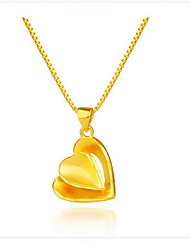 Pendant Necklaces Jewelry Sterling Silver Gold Plated 18K gold Heart Dangling Style Heart Geometric Fashion Gold JewelryDaily Christmas