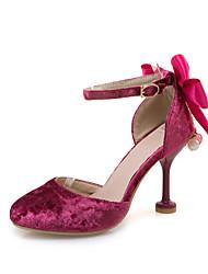 Saltos-Sapatos clube-Salto Agulha-Rosa Vermelho Bege-Courino-Casual