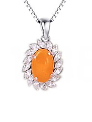 Pendants Sterling Silver Amber Flower Sunflower Basic Design Flower Style Orange Jewelry Daily Casual 1pc