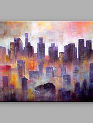 IARTS Abstract Hand-Painted Landscape My City A One Panel Canvas Oil Painting For Home Decoration