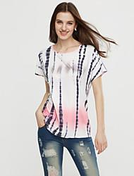 T-shirt Da donna Casual Semplice Estate,A pois Rotonda Poliestere Multicolore Manica corta Opaco / Sottile