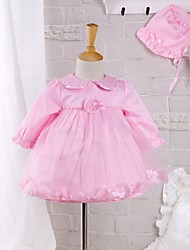 Baby Going out Casual/Daily Solid DressCotton Polyester Spring Fall Pink Petal Dress with Hat