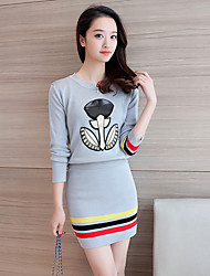 Sign new fashion knitted suits College Wind round neck long-sleeved sweater coat temperament skirt suit