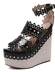 Women's Sandals Summer Other Fleece Dress Wedge Heel Buckle Black Red