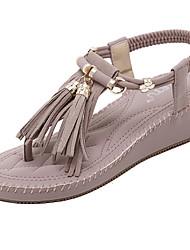 Sandalen-Büro Kleid Lässig-Mikrofaser-Keilabsatz-Komfort Club-Schuhe-Mandelfarben Light Purple
