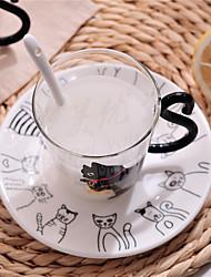 Transparent Cartoon Drinkware, 300 ml Decoration Girlfriend Gift Glass Juice Milk Coffee Mug