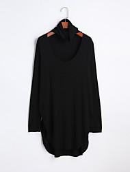 Damen Solide Einfach Ausgehen T-shirt,Rundhalsausschnitt Frühling Sommer Langarm Baumwolle