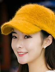 Women Rabbit Fur Solid Color Baseball Cap Vintage Casual Warm Cap