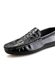 Herren-Loafers & Slip-Ons-Büro Lässig Party & Festivität-Mikrofaser-Flacher Absatz-Komfort-Schwarz Weiß