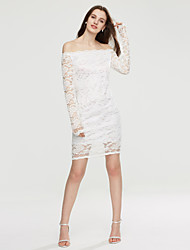 Women's Solid Fashion Bodycon Off-The-Shoulder Casual Bateau Long Sleeve Hollow Out Lace Dress