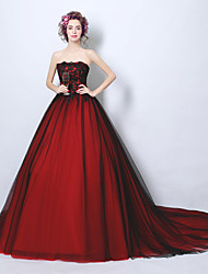 Formal Evening Dress Ball Gown Strapless Court Train Tulle with Beading Lace