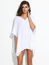 Mulheres Vestido Solto Simples Sólido Mini Decote V Algodão