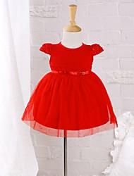 Baby Kleid-Lässig/Alltäglich einfarbig Bestickt Baumwolle Nylon Sommer Rot