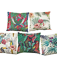 Set of 5 Flamingo Tropical Plants  Linen Pillow Case Bedroom Euro Pillow Covers 18x18 inches  Cushion cover