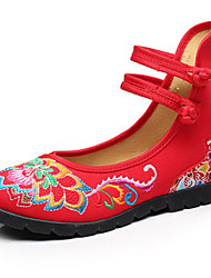 Women's Flats Spring Summer Fall Winter Comfort Novelty Embroidered Shoes Canvas Outdoor Athletic Casual Flat Heel Buckle FlowerBlack Red