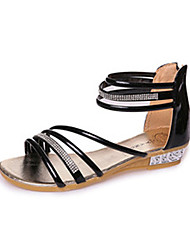 Women's Sandals Spring Summer Fall Comfort PU Outdoor Dress Casual Flat Heel Wedge Heel Rhinestone Black Silver Gold
