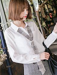 2017 spring new long-sleeved cotton shirt female Korean loose blouse shirt shirt wild ribbon